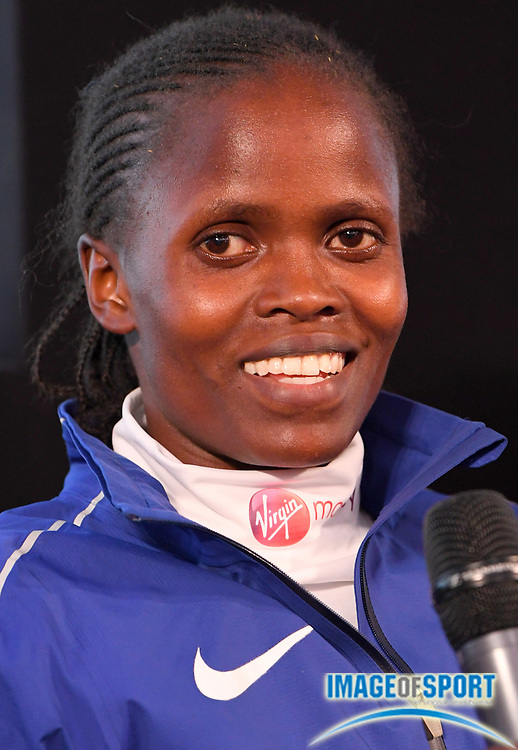 Brigid Kosgei (KEN) reacts at press conference after placing second in the women's race in 2:20:13 in the London Marathon in London, Sunday, April 22, 2018. (Jiro Mochizuki/Image of Sport)