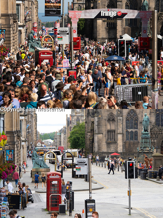 Edinburgh, Scotland, UK. 7 August, 2020. Contrasting montage views taken in the same location of the packed Royal Mile on opening day of the 2019 Edinburgh Fringe festival and the very quiet street today on what would be the opening day of the 2020 Fringe festival. Iain Masterton/Alamy Live News