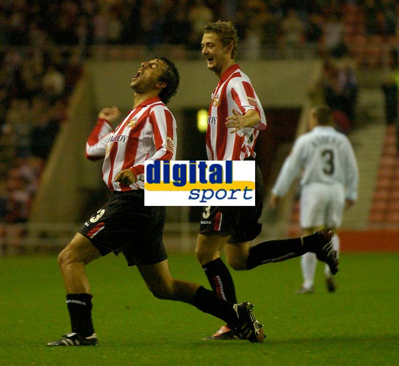 Photo. Glyn Thomas. <br /> Sunderland v Nottingham Forest. <br /> Coca Cola Championship. 14/09/2004.<br /> Sunderland's Julio Arca (L) celebrates scoring his side's first goal.