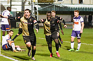 Marine forward Niall Cummins (9) celebrates with Marine forward Mo Touray (10) during the The FA Cup match between Marine and Havant & Waterlooville FC at Marine Travel Arena, Great Crosby, United Kingdom on 29 November 2020.