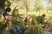 Israel, West Bank, Israeli reserve soldiers at leisure during active duty
