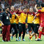 Galatasaray's players celebrate victory during their Turkish Super League soccer match Galatasaray between Sivasspor at the AliSamiYen Spor Kompleksi TT Arena at Seyrantepe in Istanbul Turkey on Sunday 05 May 2013. Photo by TURKPIX