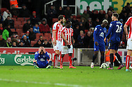 James McCarthy of Everton (l) slumps to the ground showing his frustration. Barclays Premier League match, Stoke city v Everton at the Britannia Stadium in Stoke on Trent , Staffs on Wed 4th March 2015.<br /> pic by Andrew Orchard, Andrew Orchard sports photography.