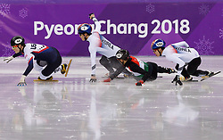 February 17, 2018 - Gangneung, South Korea - Short track skater Sandor Liu of Hungary crashes into Yira Seo of Korea as Samuel Girard of Canada, John-Henry Krueger of the United States and Hyojun Lim of Korea compete in the Men's Short Track Speed Skating 1000M finals at the PyeongChang 2018 Winter Olympic Games at Gangneung Ice Arena on Saturday February 17, 2018. (Credit Image: © Paul Kitagaki Jr. via ZUMA Wire)