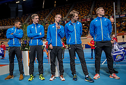 11-02-2017 NED: AA Drink NK Indoor, Apeldoorn<br /> AA drink talent team met Meerkamper Sybren Blok (PAC Rotterdam, 20 jaar), 800 en 400 meter loper Tony van Diepen (AV Lycurgus, 20 jaar) en middenlange afstand loper Bart van Nunen (AV Passaat, 21 jaar). Nieuw dit jaar zijn 400 meter loper Jochem Dobber (AV Suomi, 19 jaar), werper Wout Zijlstra (AV Horror, 19 jaar) en meerkamper Rik Taam (AV Zaanland, 20 jaar). Links Guido Gielen, Sr. Brand Manager AA Drink