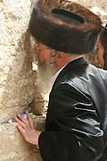 Israel, Jerusalem, Old City, Wailing Wall Jewish man at prayer
