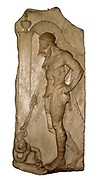 Greek warrior, Hellenistic, 1st century BC from Rhodes.  This marble grave relief shows a warrior dressed in a cuirass and helmet leaning on his spear in front of a funerary stele.  The serpent at the base symbolises the soul of the deceased.  The relief is 'archaising' and imitates Greek sculpture of the mid 5th century BC