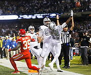 Oakland Raiders Michael Crabtree celebrates his game winning touchdown with no time remaining vs the Chiefs.