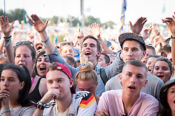 Festival goers in the Pyramid Stage arena on day 3 of Glastonbury 2019, Worthy Farm, Pilton, Somerset. Picture date: Friday 28th June 2019.  Photo credit should read:  David Jensen/EmpicsEntertainment
