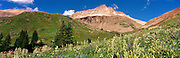 Panoramic view of Yankee Boy Basin, near Ouray, Colorado, USA; August 2010