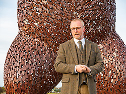 Dunbar, East Lothian, Scotland, United Kingdom, 19 November 2019. Andy Scott statue unveiling: Unveiling today of a 5m high bear sculpture to celebrate the life of naturalist John Muir. The sculpture by the Kelpies creator Andy Scott marks Dunbar-born John Muir who played a key role in the development of national parks in the US. Pictured: Andy Scott, sculptor.<br /> Sally Anderson   EdinburghElitemedia.co.uk