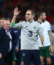 October 9, 2017 - Cardiff City, Walles, United Kingdom - Martin O'Neill manager of Republic of Ireland celebratees..during World Cup Qualifying - European Group D match between Wales against Republic of Ireland at Cardiff City Stadium Cardiff City Football Club on 09 Oct  2017  (Credit Image: © Kieran Galvin/NurPhoto via ZUMA Press)