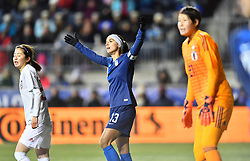 February 27, 2019 - Chester, PA, U.S. - CHESTER, PA - FEBRUARY 27: US Forward Alex Morgan (13) reacts to not being targeted for a scoring chance in the first half during the She Believes Cup game between Japan and the United States on February 27, 2019 at Talen Energy Stadium in Chester, PA. (Photo by Kyle Ross/Icon Sportswire) (Credit Image: © Kyle Ross/Icon SMI via ZUMA Press)