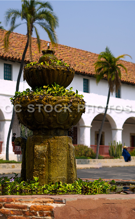 Landscape Cement Water Fountain at the Santa Barbara Mission