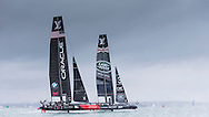 Image licensed to Lloyd Images. Free for editorial use. <br /> Pictures of Official Practice Day 24.07.15 - Oracle Team USA skippered by Jimmy Spithill & Land Rover BAR Racing Team skippered by Sir Ben Ainslie (GBR) <br /> Credit: Lloyd Images
