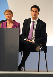 © Licensed to London News Pictures. 28/09/2011. LONDON, UK. Yvette Cooper, Shadow Home Secretary and Ed Miliband, Leader of the Labour Party, at The Labour Party Conference in Liverpool today (28/09/11). Photo credit:  Stephen Simpson/LNP