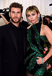 Miley Cyrus and Liam Hemsworth attending the Metropolitan Museum of Art Costume Institute Benefit Gala 2019 in New York, USA.
