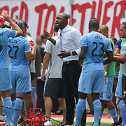 HARRISON, NEW JERSEY- JULY 24:  NYCFC coach Patrick Vieira talking to his players during a drinks break in searing heat during the New York Red Bulls Vs New York City FC MLS regular season match at Red Bull Arena, Harrison, New Jersey on July 24, 2016 in Harrison, New Jersey. (Photo by Tim Clayton/Corbis via Getty Images)