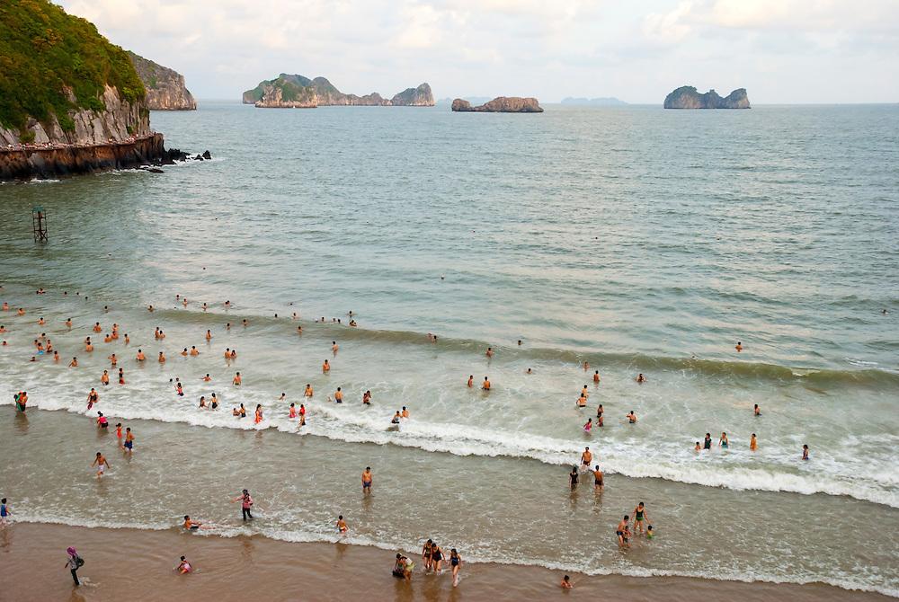 Beach on Cat Ba Island in Halong Bay, Vietnam