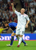 Wayne Rooney Celebrates Scoring 2nd goal with a dejected Kazakhstans Alexandr Kuchma<br /> England 2008/09<br /> England V Kazakhstan World Cup 2010 Qualifier Group 6 11/10/08<br /> Photo Robin Parker Fotosports International