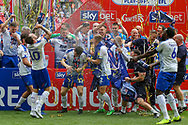 Tranmere Rovers celebrate after winning the final during the EFL Sky Bet League 2 Play Off Final match between Newport County and Tranmere Rovers at Wembley Stadium, London, England on 25 May 2019.