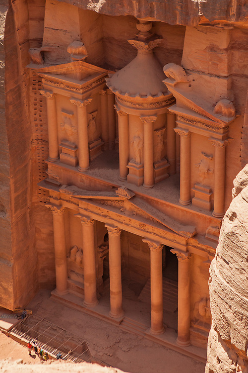 """Overhead view of the Treasury, a facade carved out of stone by the Nabataeans. Currently one of the """"Seven Wonders of the World"""""""