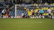 Lee Gregory of Millwall and Jayson Leutwiler of Shrewsbury Town during the Sky Bet League 1 match at The Den, London<br /> Picture by Richard Brooks/Focus Images Ltd 07947656233<br /> 10/12/2016