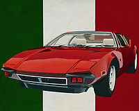 The De Tomaso Pantera from 1971 is considered to be the innovator of Italian sports cars; the De Tomaso Pantera was such an exceptional design that it was immediately considered a classic. The sleek lines of the De Tomaso stood out sharply from the many round shapes used by carmakers at the time. The De Tomaso exudes both elegance and devilish speed.<br /> <br /> This painting of the De Tomaso Pantera from 1971 can be printed on various materials and sizes. -<br /> <br /> BUY THIS PRINT AT<br /> <br /> FINE ART AMERICA<br /> ENGLISH<br /> https://janke.pixels.com/featured/the-tomaso-pantera-from-1971-the-innovator-from-italy-jan-keteleer.html<br /> <br /> WADM / OH MY PRINTS<br /> DUTCH / FRENCH / GERMAN<br /> https://www.werkaandemuur.nl/nl/werk/De-Tomaso-Pantera-uit-1971-de-vernieuwer-uit-Italie/637083/134?mediumId=1&size=70x55