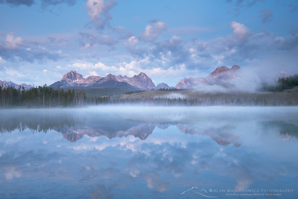 Fog over Little Redfish in pre-dawn light, Lake Sawtooth Mountains Idaho