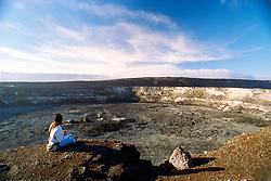 tourist at Halema`uma`u Crater and Mauna Loa, Kilauea Caldera, Hawaii, USA Volcanoes National Park, Big Island, Hawaii, USA
