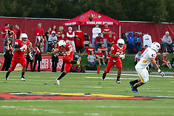 10 September 2011: Nick Aussieker puts the ball back in play with a kickoff during an NCAA football game between the Morehead State Eagles and the Illinois State Redbirds at Hancock Stadium in Normal Illinois.