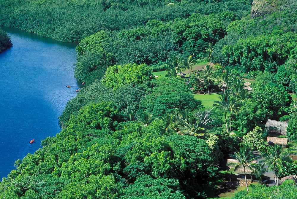 Authentic Hawaiian village and kayaks along the Wailua River, Island of Kauai, Hawaii