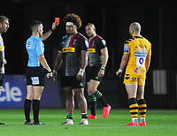 Rugby Union - 2019/ 2020 Gallagher Premiership - Harlequins vs Wasps<br /> <br /> Elia of Harlequins receives the red card for a tackle on Robson of Wasps, which gave Wasps the momentum to go on and win the match, at the Twickenham Stoop.<br /> <br /> COLORSPORT/ANDREW COWIE