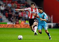 Photo: Alan Crowhurst.<br />Southampton v Sunderland. Coca Cola Championship. 09/04/2007. Southampton's Gareth Bale (L) with Carlos Edwards.