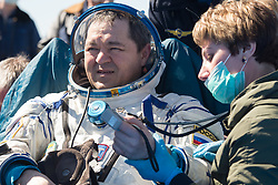 Expedition 62 cosmonaut Oleg Skripochka is seen outside the Soyuz MS-15 spacecraft after he landed with NASA astronauts Andrew Morgan and Jessica Meir in a remote area near the town of Zhezkazgan, Kazakhstan on Friday, April 17, 2020. Meir and Skripochka returned after 205 days in space, and Morgan after 272 days in space. All three served as Expedition 60-61-62 crew members onboard the International Space Station.<br /> <br /> Where: Zhezkazgan, Kazakhstan<br /> When: 17 Apr 2020<br /> Credit: NASA/GCTC/Andrey Shelepin/Cover Images<br /> <br /> **Editorial use only**