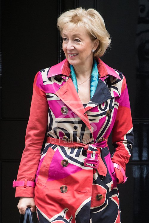 Downing Street, London, October 11th 2016. Government ministers leave the first post-conference cabinet meeting. PICTURED: Environment, food and Rural Affairs Secretary Andrea Leadsom