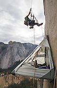 Kevin Jorgeson climbing a fixed rope from basecamp, high on El Capitan's Dawn Wall in November of 2013. Over a year later he and partner Tommy Caldwell completed the 3000' route in Yosemite Valley during an epic nineteen day push. The route is regarded by many as being the hardest rock climb in the world.