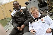 Feyenoord-selectie  krijgt maandag in Amersfoort een militaire training. Op uitnodiging van de Koninklijke Landmacht is de A-selectie een dag te gast op de Bernhardkazerne.<br /> <br /> Op de foto:  John Guidetti en Sekou Cisse
