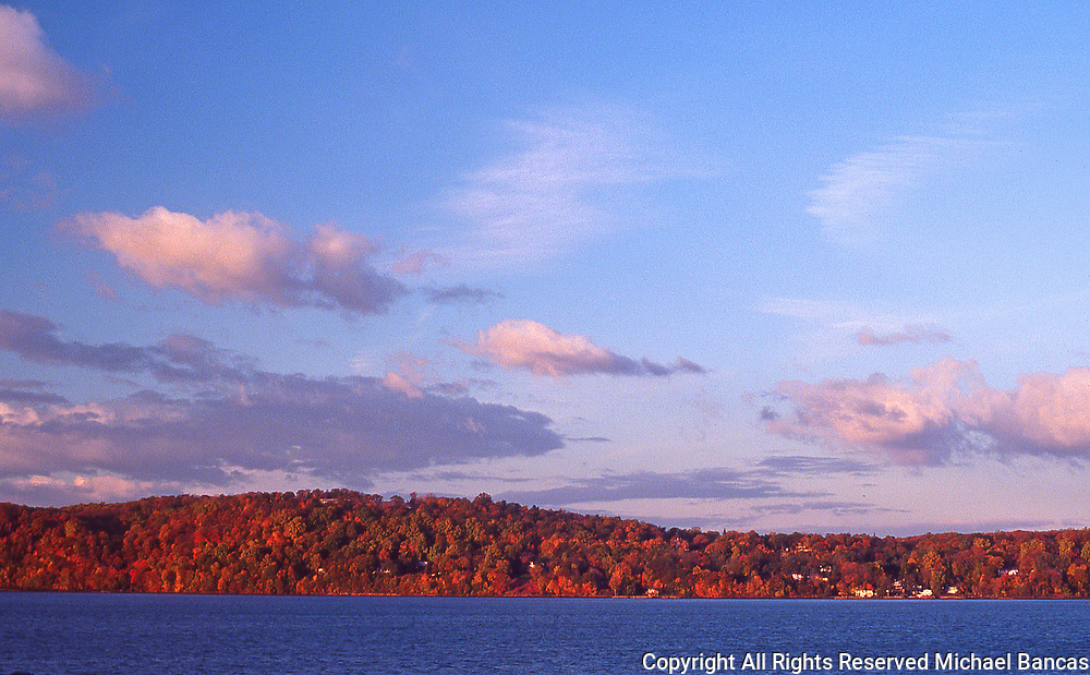 Fall on the Hudson looking across the river at Rockland Co from Dobbs Ferry Upstate New York