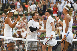 LONDON, July 16, 2018  Alexander Peya (2nd L) of Austria and Nicole Melichar (1st L) of the United States shake hands with Jamie Murray (2nd R) of Britain and Victoria Azarenka of Belarus after winning the mixed doubles final match at the Wimbledon Championships 2018 in London, Britain, on July 15, 2018. Alexander Peya and Nicole Melichar won 2-0 and claimed the champion. (Credit Image: © Stephen Chung/Xinhua via ZUMA Wire)