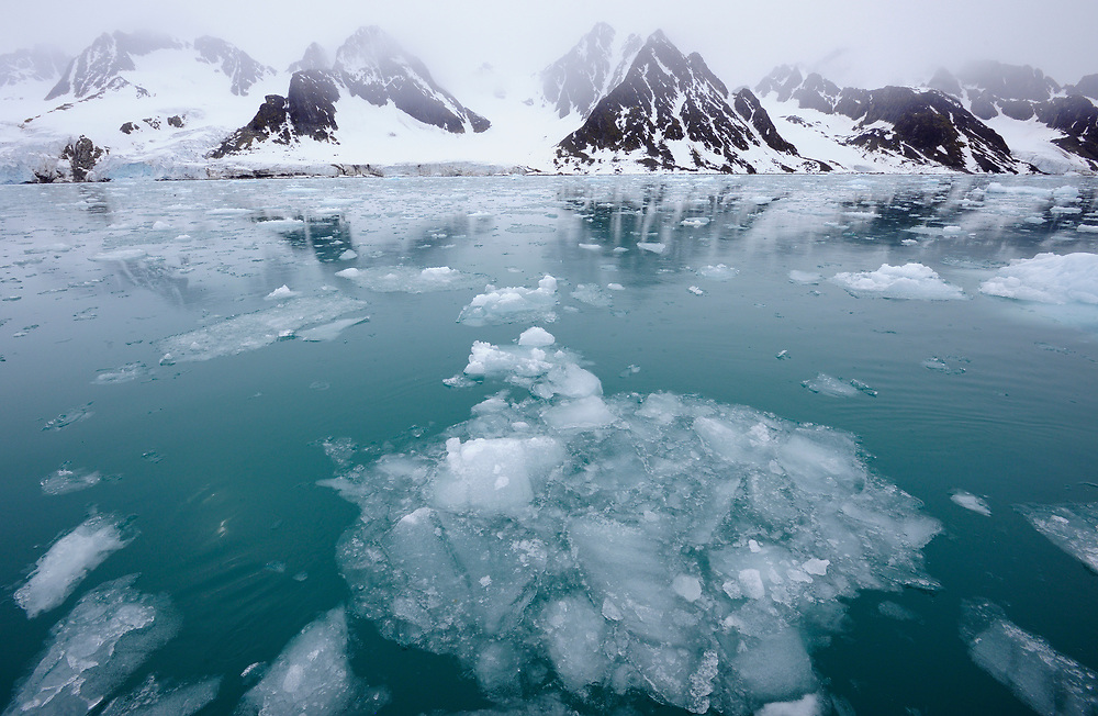 Arctic landscape with ice in the water, Svalbard, Norway