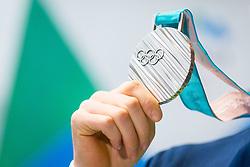 Silver medal from Olympic games during Arrival of Jakov Fak, Silver medalist at Olympic Games in Pyeongchang 2018, on February 25, 2018 in Aerodrom Ljubljana, Letalisce Jozeta Pucnika, Kranj, Slovenia. Photo by Ziga Zupan / Sportida