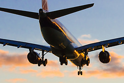 A Virgin Atlantic Airbus A340-600 lands on Runway 27 Right at London Heathrow