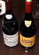 Bottles of Chateauneuf-du-Pape Domaine du Vieux Telegraphe La Crau 2001 and Domaine Les Pallieres 2001 Gigondas.  Chateauneuf-du-Pape Châteauneuf, Vaucluse, Provence, France, Europe  Chateauneuf-du-Pape Châteauneuf, Vaucluse, Provence, France, Europe