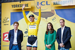 Prince Harry, HRH Duchess of Cambridge Kate Middleton and Prince Charles join Marcel Kittel of Germany and Team Giant-Shimano as he celebrates with the leaders Yellow Jersey having won Stage 1 of the Tour de France in Harrogate - Photo mandatory by-line: Rogan Thomson/JMP - 07966 386802 - 05/07/2014 - SPORT - CYCLING - Harrogate, North Yorkshire - Le Tour de France Grand Depart Stage 1, Leeds to Harrogate.