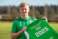 Josh Doig (#25) of Hibernian FC poses for the media after he signs a new contract with Hibernian FC at the Hibs Training Centre, Ormiston, Scotland on 26 February 2021, ahead of the SPFL Premiership match against Motherwell.