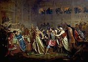 Grand Duchess Sophia Vitovtovna taking the Belt of Vasili Kosoy at the Wedding of Vasili Tyomny',1861. Oil on canvas. Pavel Chistyakov (1832-1919) Russian painter. Marriage of Vasily II, 1432. Feudal War 1425-1453. Russia.