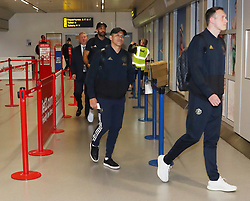 Alexis Sanchez is spotted on his way to catch a flight as the team fly to Turin on Tuesday afternoon to play Juventus in The Champions League on Wednesday night.
