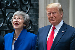 © Licensed to London News Pictures. 04/06/2019. London, UK. The President of the United States of America Donald Trump meets British Prime Minister Theresa May in Downing Street as part of Trump's state visit to the United Kingdom. Photo credit : Tom Nicholson/LNP