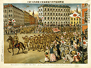 Illustration of the Siberian War: The March of the Japanese army through Vladivostock, July 1918. Japan landed 72,000 troops in Vladivostock and spread through Eastern Siberia, claiming it as part of Japan.   Russia Chromolithograph 1919